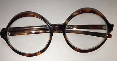 FRENCH Vintage TORTOISE FRAME ROUND EYEGLASSES Made in France