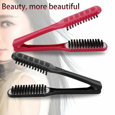 Hairdressing Ceramic Styling Clamp Straightening Hair Double Brush Salon Tool GL
