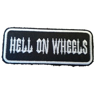 HELL ON WHEELS Biker jacket Iron On Patch words slogan text patch