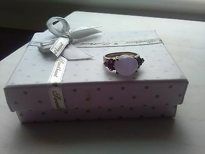 Silver ring with lilac stone