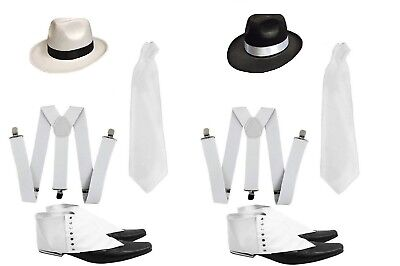 Deluxe Gangster Set 1920's Fancy Dress Pimp Trilby Hat Spats Braces Tie Adult