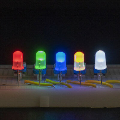 LED 5mm or 3mm Diffused (Soft White) Lens in Red Blue Green Yellow White or Mix
