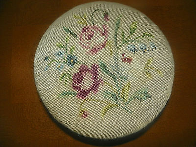"Antique Round Wooden Needlepoint Covered Wood Foot Stool-11"" Wide By 7"" Tall"