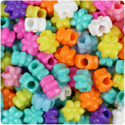 BeadTin Opaque 13mm Flower Pony Beads (250pcs) - Color choice