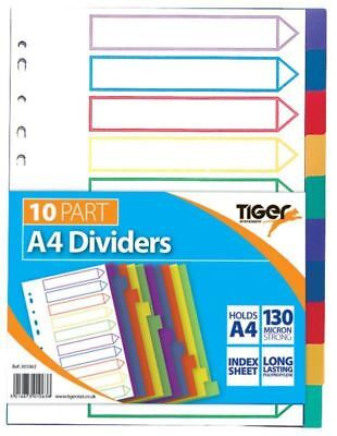 A4 File Dividers Plastic Coloured Tabs Subject Filing Numbered A-Z Extra Wide