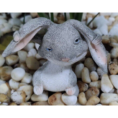 Resin lovely rabbit Hand Painted simulation model Figurine Statue 4.5cm