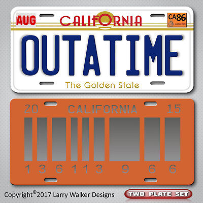 Back to the Future OUTATIME  2015 Set Replica Prop Aluminum License Plate Tag