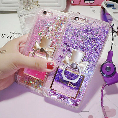Luxury Glitter Quicksand Silicone Case Cover With Lanyard for iPhone 7 8 Plus X