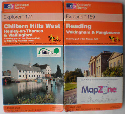 159 171 Reading Chiltern Hills West  Explorer, Job Lot Ordnance Survey Map, Os