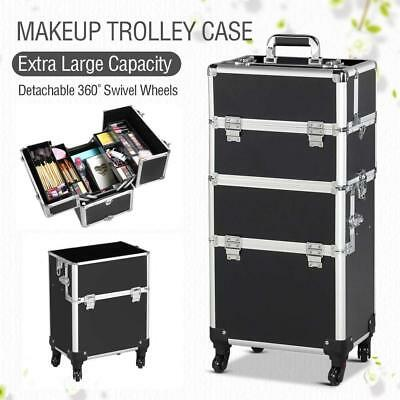 3 in1 Professional Aluminum Makeup Train Case Trolley Rolling Cosmetic Organizer