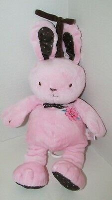 Carters Just One Year pink brown bunny plush musical crib hanging flower dots