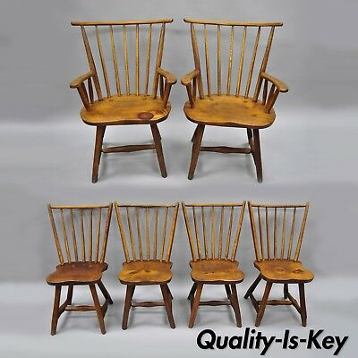 Hunt Country Furniture Pine & Oak Wood Dining Room Chairs Hickory Style Set of 6