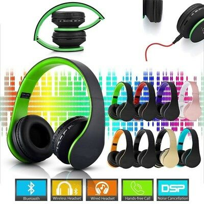 4in1 Wireless Bluetooth Stereo Headphones Wired Headset with Mic MP3 TF FM Radio