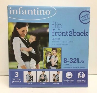 (New)  Infantino Flip Front 2 Back Carrier, Black 8-32 lbs