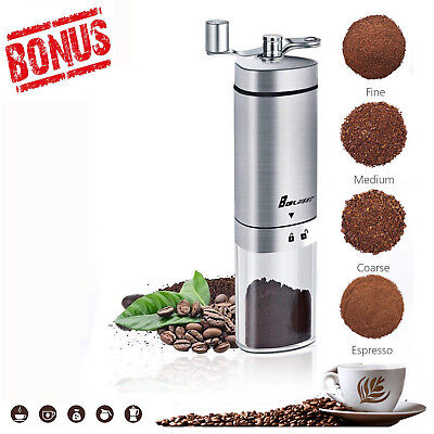 Manual Coffee Mill Conical Burr Grinder Turkish Bean Portable Hand French Press