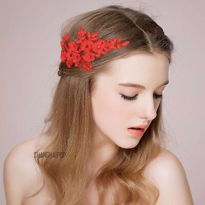 Women Lace Head Hair Flower Headpiece Bridal Wedding Jewelry Band Tiara Red New