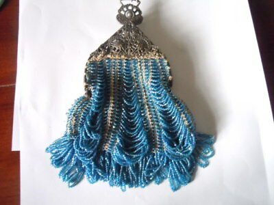 Vintage knit and carnival blue glass beaded purse/chatelaine with ornate frame