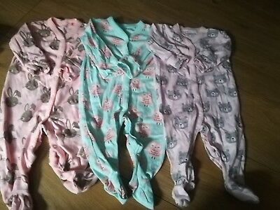 Next Baby Girl Pack Of 3 Long Sleeve Animal Pattern Baby Grows Size 3-6 Months