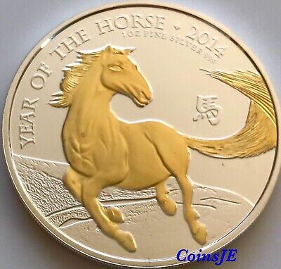 2014 Lunar Year of the Horse 1oz .999 Silver Gold Gilded Coin
