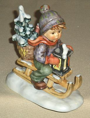 Vintage Porcelain Figurine GOEBEL HUMMEL 396 Ride into Christmas Signed 60g