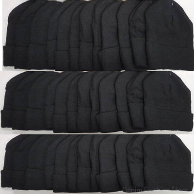 120pcs Wholesale Lot Solid Black Beanie Knit Ski Cap Skull Cuff  Winter Hats Lot