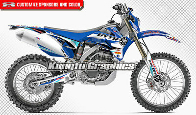 Yamaha WR250F WR450F Vinyl Decals Stickers Kungfu Graphics Kit 2007 to 2014 Blue