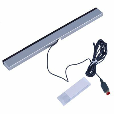 Wired Infrared Ray Sensor Bar/Receiver for Nintendo Wii U Black with Silver QK