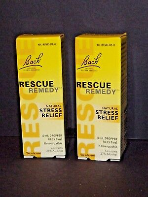 2 Boxes Bach Rescue Remedy Natural Stress Relief Drops 10mL Dropper New 3/22 (U)