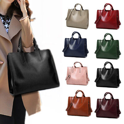 Womens Large Waterproof PU Leather Handbag Casual Travel Shoulder Bag Tote Bags