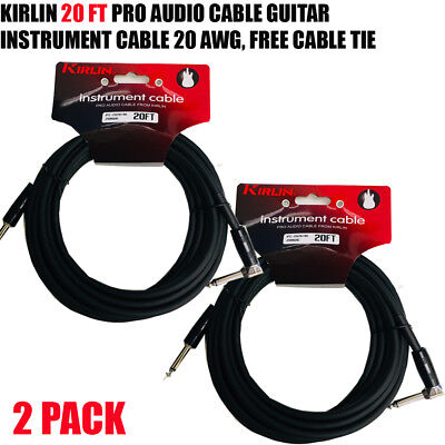"2 PACK Kirlin 20 FT Guitar Instrument Angle 1/4"" 20AWG Straight to Right Angle"