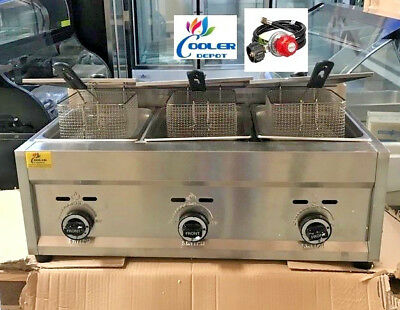NEW 3 Burner Commercial Deep Fryer Model FY5Propane and Gas Use Counter Top