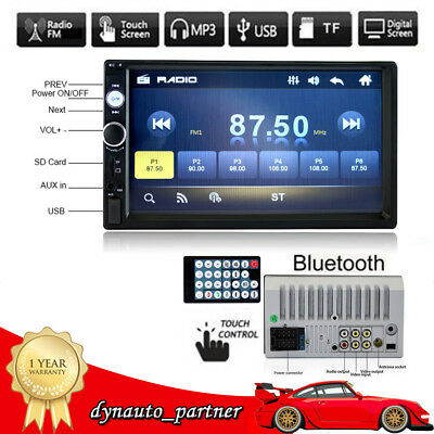 7'' HD Double 2DIN Touch Car Stereo Radio MP5/MP3 Player Bluetooth USB/TF/FM