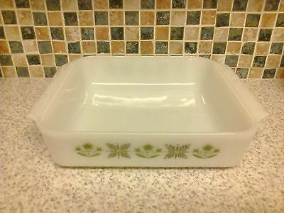 Anchor Hocking Fire King Meadow Green Square Oven Dish 2 Handles