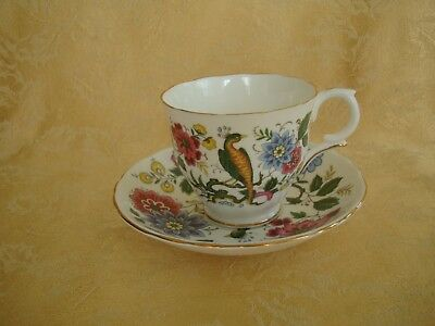 Crown Staffordshire Fine Bone China Bird of Paradise Cup and Saucer Set England