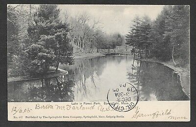 Vintage Postcard - Lake in Forest Park, Springfield, Mass.- Posted