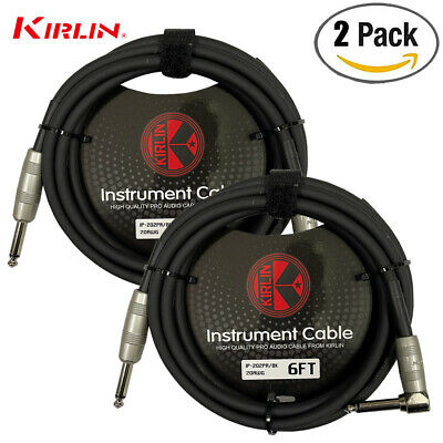 "2 PACK Kirlin 6 FT Guitar Instrument Angle 1/4"" 20AWG Straight to Right Angle"