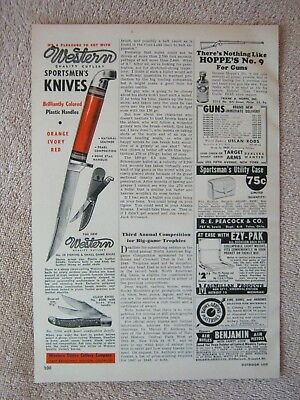 Vintage 1949 Western Cutlery Knife Knives No. 28 Red Handle 6206 Clasp Print Ad