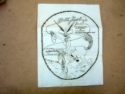 1944 Military Birthday Greetings~Ft Worth Quartermaster Depot~Cowboy Rabbit~Wwii