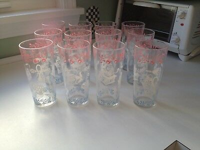 12 VINTAGE KITCHEN Drinking Glasses Tumblers Pink White Blue ...
