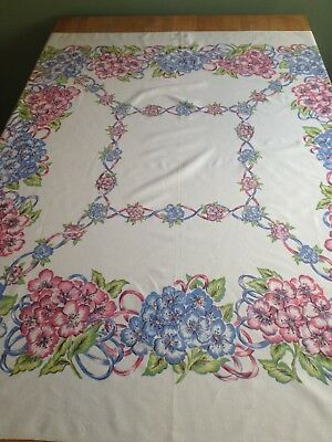 "Vintage Cotton Blend Tablecloth 50"" x 48"" Floral Ribbons Pink Blue Green VGUC"
