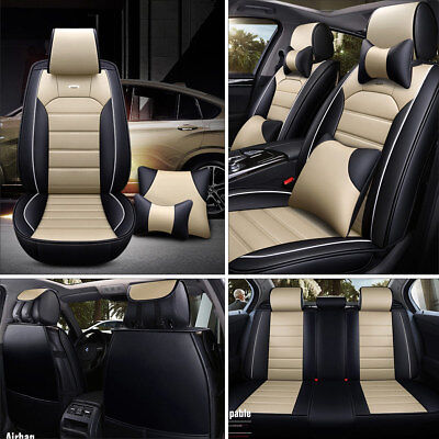 Beige Universal PU Leather Car Seat Cover Front+Rear w/Pillows Full Kit Cushion