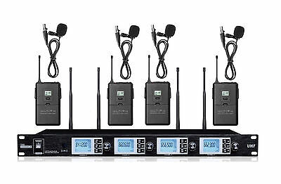 4 Channel Professional UHF Lapel/Lavalier Clip-on Wireless Microphone System