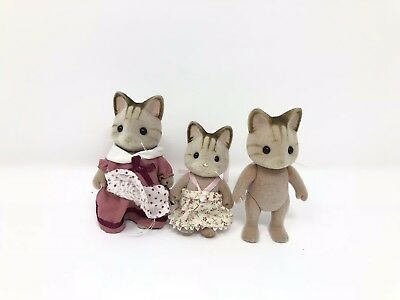 Calico Critters Striped Cat Family Lot of 3 Figures
