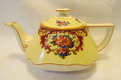 Crown Ducal CRD38 Mini Tea Pot with Lid Scalloped Pink Red Blue Floral 20's