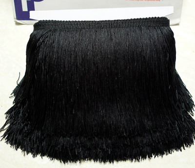 Black 10cm Braid Trim Tassel Fringe Lace Price per 30cm DIY Craft Clothing Decor