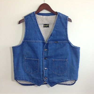 Vintage Wrangler Sherpa Lined No-Fault Denim Vest - Size XL - USA Made