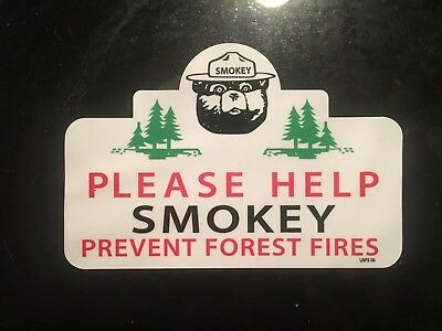 Smokey Bear Decal OLD SCHOOL 1956 window Travel Please Help 3""