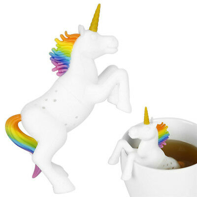 1X Silicone Unicorn Loose Tea Leaves Strainer Herbal Spice Infusers Filter Bags