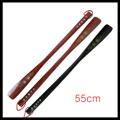 Flexible Long Handle Shoehorn Shoe Horn Stick Wooden 55cm/21.5'' Portable