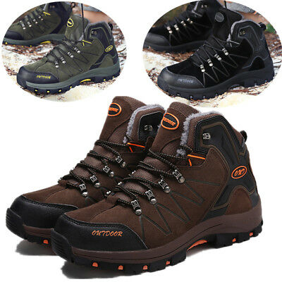 Mens Casual Winter Snow Boots Outdoors Hiking Sneakers High Top Climbing Shoes